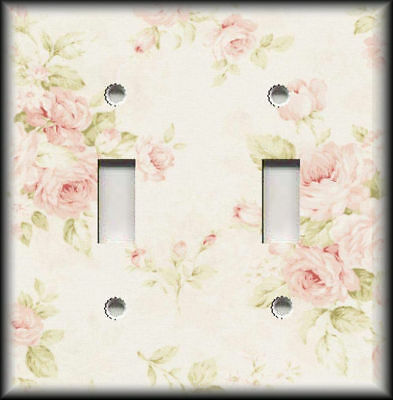 Metal Light Switch Plate Cover Light Pink Shabby Chic Roses Design Decor
