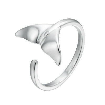 925 Silver Lovely Whale Fish Tail Animal Open Finger Ring Women Birthday Gift