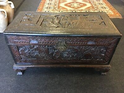Oriental Chinese Small Carved Camphor Wood Chest/ Trunk With Dragon Head Feet