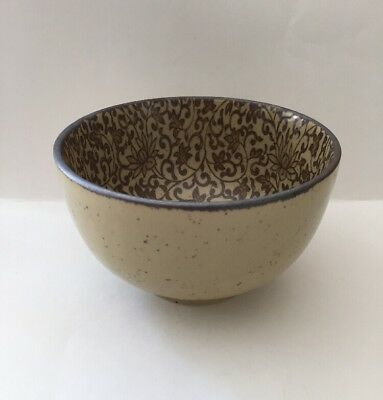 "Sousaku Japan SOUND COLLECTION BOWL 5"" Stoneware Floral Vines Round Rice Serving"