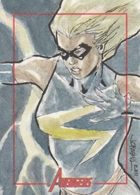 Marvels Greatest Heroes 2012 Color Sketch Card by Fabul - Ms Marvel
