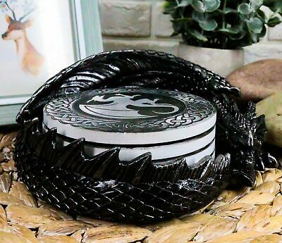 "Medieval Hour Of The Dragon Coaster Set 6.5""L Figurine Holder With Four Coasters"
