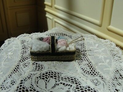 Dollhouse Miniature Wicker Basket of Yarn