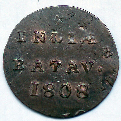 NETHERLANDS EAST INDIES, BATAVIAN REPUBLIC 1/2 DUIT 1808 Doubled Die Error O5.6