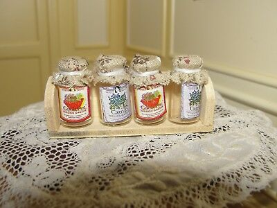 Dollhouse Miniature Wood Shelf w 4 Glass Canning Jars