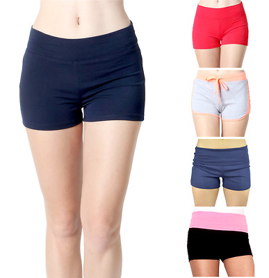 ddd85a20d4e3b9 Women Yoga Shorts - Fold Over Cotton Shorts for Gym Girls by Belle Donne