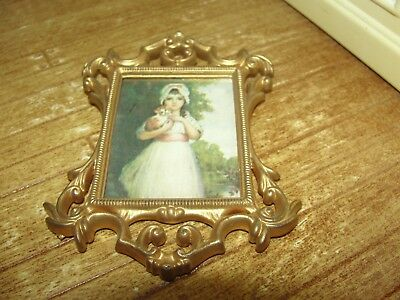 Dollhouse Miniature Gold Framed Picture of Pinkie