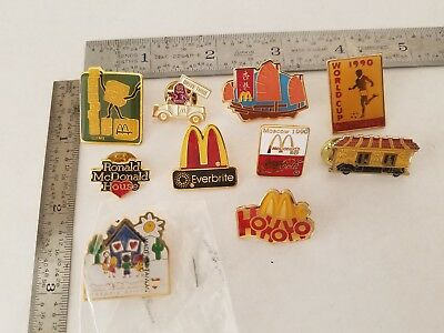 Vintage Lot 10 Mcdonald's Pins Pinback 1990 Moscow Drive Thru Expert World Cup+