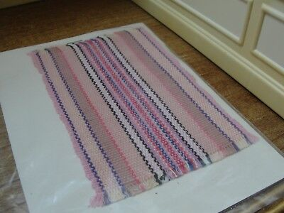 Dollhouse Miniature Pink Multi-Colored Striped Rug   NRFP