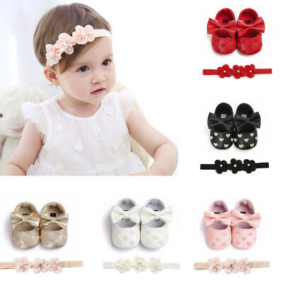 Newborn Baby Love Embroidery Leather Toddler First Walkers Kid Shoes+Hairban Set