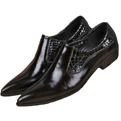Fulinken Size 5-12 New Fashion Pointed Leather Slip On Loafers Mens Dress Shoes