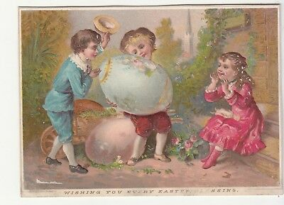 Wishing You Every Easter Blessing Egg Children Hat Embossed Vict Card c1880s