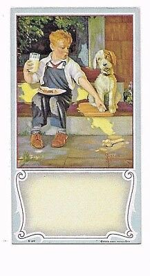 Boy And His Dog At Lunch  Advertising Blotter  Nice, Charming Item  Near Mint