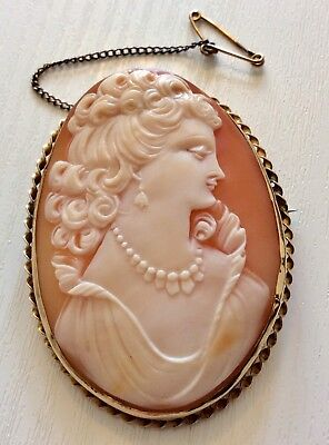 Stunning Very Large Vintage 9 Carat Gold Ladies Cameo Brooch 9CT Superb