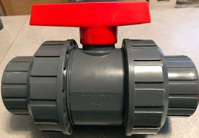 New Era Sch 80 Pvc 2 Inch True Union Ball Valve Grey Threaded Connect Pvc New
