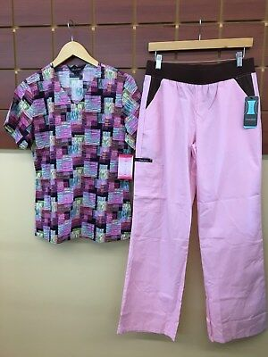 NEW Pink Print Scrubs Set With Wink Small Top & Cherokee Small Pants NWT