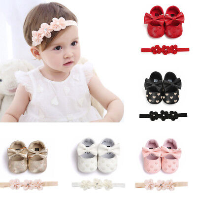 Toddler Baby Love Embroidery Leather Toddler First Walker Girl Shoes+Hairban Set