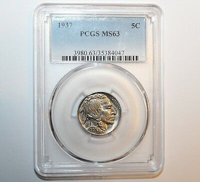 1937 Buffalo Nickel 5C Five Cent - Nice Coin Graded & Certified by PCGS as MS 63