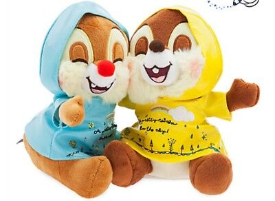 The Disney Store Raincoats Chip n Dale - Plush Soft Toy - Brand New