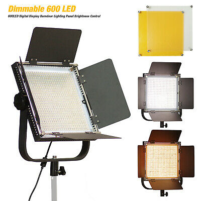 600 LED Light Panel Kit Photography Video Studio Lighting Dimmer Mount Photo