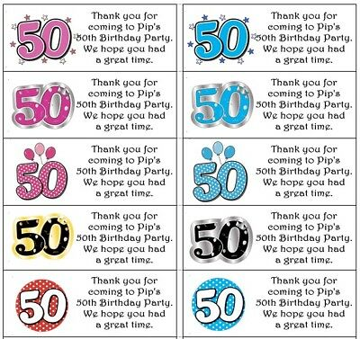 Personalised stickers anniversary or birthday party bags/cake labels No.50