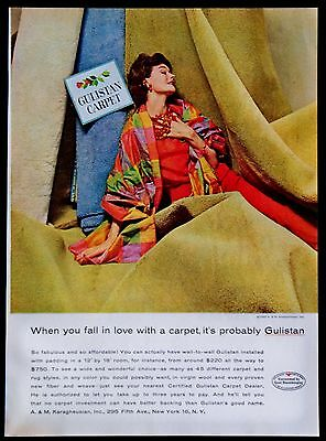 Vintage 1960 Gulistan Carpets Floor Coverings Magazine Ad Print tear Out