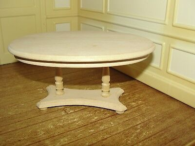 Dollhouse Miniature Natural Wood Oval Dining Table