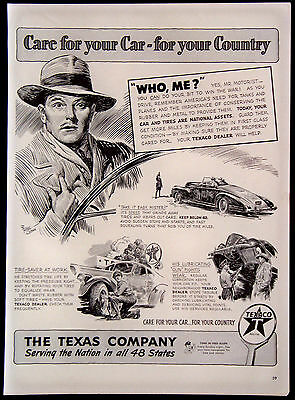 Vintage 1942 Texaco The Texas Company Oil Gasoline Magazine Ad Care For Your Car