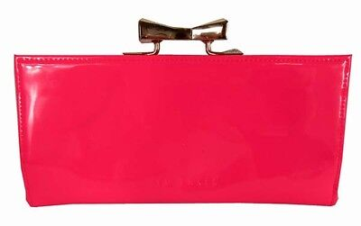 94941b0f2 TED BAKER Crystal Frame Matinee Bright Pink Patent Leather Continent Wallet   150