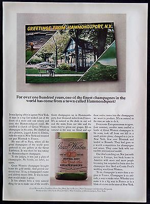 1968 Great Western Extra Dry New York State Champagne Original Magazine Ad