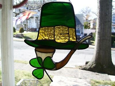 Stained Glass St Patrick's Hat & Pipe  Sun catcher (Real Glass)