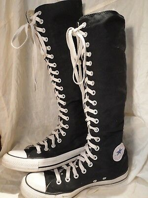 b2769a54b7ee Converse Tall knee high Boots Sneakers Ladies 9 Mens 7 black Canvas all  star VGC