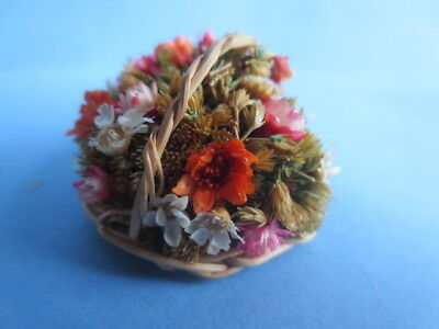 vintage miniature dollhouse artisan dried flower wicker basket arrangement 1:12