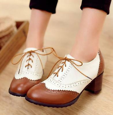 Vintage Womens Brogue Oxfords Wing Tip Lace Up Block Heels Pumps Shoes NEW H316