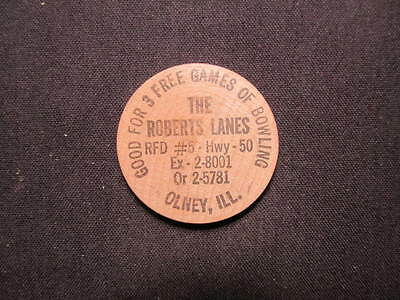 Olney, Illinois Wooden Nickel token - The Roberts Lanes Wood Bowling Games Coin