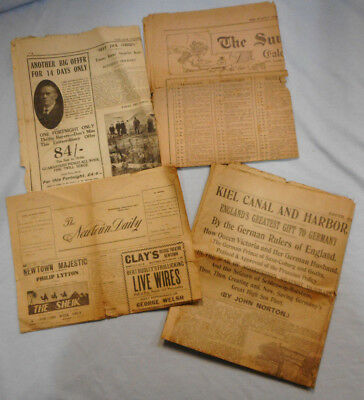 #T90.  Four Partial Newspapers, 1915, 1917, 1924 & 1927