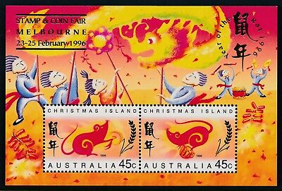 1996 Christmas Island Year Of Rat Minisheet Melbourne Overprint Fine Mint Mnh