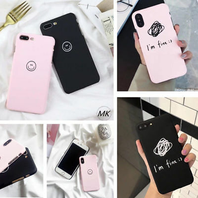 Fashion smiling face Painted Phone Case For iphone 5S 6 7 8 Plus Couples Case