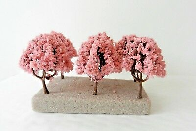10 x PINK BLOSSOM MODEL TREES 6 cm SCENERY FOR MODEL RAILWAY N / Z SCALE