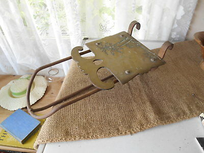 Antique Welsh Blacksmith Made Brass Palm Tree & Iron Fireplace Or Range Trivet