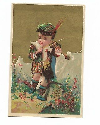 Alpine Boy w Blue Hat Mountains Kilt Violin  No Advertising Vict Card c1880s