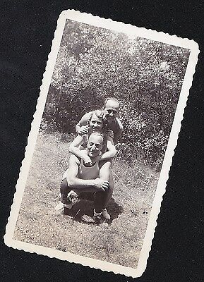 Old Vintage Antique Photograph Three People Posing One Behind the Other
