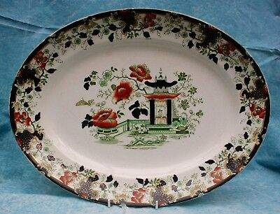 Antique Victorian Large Myott Imperial Semi Porcelain Oval Meat Dish Indiana