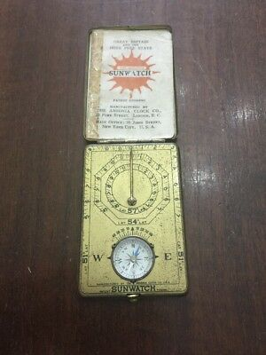 Rare Vintage Or Antique Quirky Ansonia Brass Sunwatch With Compass