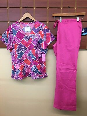 NEW Pink Print Scrubs Set With Vera Bradley Large Top & Cherokee Large Pants NWT