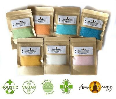 Pure Essential Oil Blended BATH SALTS Crystals - 100g - Organic - Aromatherapy
