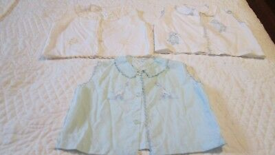 Vintage Baby 1960s   Cotton Summer Spring  Shirt Dress Embroidery Ruffled