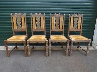 Antique Victorian Four Matching Carved Oak Dining Chairs - Rattan Weave - Solid