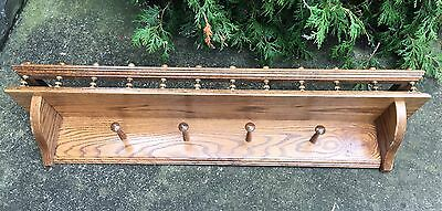 VINTAGE VICTORIAN OAK CLOCK SHELF Panel CORBEL Carved Fretwork Coat Rack