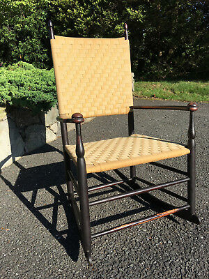 Antique Signed Shaker Rocker No. 7 Woven Seat Nice Patina Excellent Condition